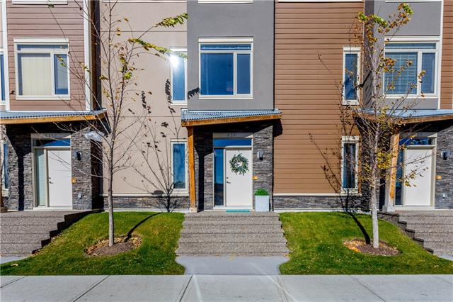 Get ahead of looming interest rate hikes with this move-in ready Brownstone in sought after community along 85th Street SW.    With West District soon to be your neighbour, more amenities will be at your doorstep. EVERYTHING IS WITHIN WALKING DISTANCE... coffee shops, restaurants, grocery stores, excellent schools, fitness centres and shopping.  2 BEDROOMS, 2.5 BATHROOMS + BONUS ROOM, 2 heated indoor parking stalls + lots of street parking.   Keep your coats and boots out of the way in the street level foyer's over-sized closet + separate STORAGE.  Perfect for entertaining, the open concept main level with views to the south + west includes spacious living room, dining area, upgraded kitchen c/w large island, QUARTZ counters, quick access to patio for BBQs. Upstairs, the master bedroom features ensuite with walk in shower, quartz counters and walk in closet, there is a good size second bedroom and full bathroom PLUS bonus room...your office, exercise area?