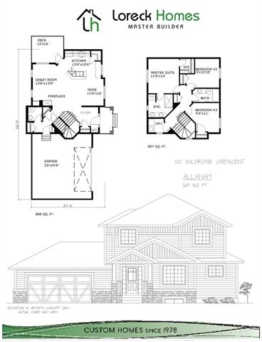 Exceptional opportunity!  Extra-large, corner pie lot with Loreck Homes Ltd. Baycrest ll model, 1877 sq.ft. 2 storey , with 3 bedrooms and bonus room (or 4th bedroom).  Customize this to-be-built home to meet your family's every need.  Price includes master suite with corner jetted tub, walk-in closet, double sinks and separate shower, as well as fireplace, deck, over-sized (22'x24') garage, quartz counter-tops throughout, large kitchen island, a kitchen appliance allowance and an upgraded flooring allowance.  All Loreck homes feature a passsive Radon gas collector system, and all basement windows are egress-proper for flexible basement development.  If you want a custom home at a pre-built price, call today to check out this exceptional home package.