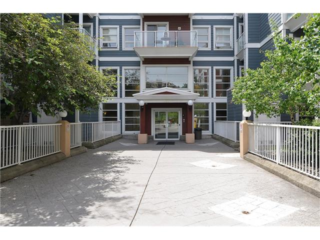 This unit offers tremendous value for a 2 bedroom, 2 bathroom apartment style condo in the heart of downtown! This complex faces the Bow River, where you will enjoy walking or bicycling on the river pathways, socializing in the neighbourhood pubs and resturants or visiting the shops and venues in the East Village. The unit feels very spacious, with a wide open floor plan that includes an island kitchen with granite countertops, open to the large great room with corner glass fireplace, large windows, and sliding glass doors to the patio. If required, the great room could easily accomodate a dining area. The master bedroom enjoys it's own full 4 pce ensuite and the 2 bedrooms are separated by the kitchen & great room area, creating a nice setup for a roommate, guest bedroom or office. There is also another full 4 pce bathroom and the convenience of insuite laundry. No more scraping windshields & warming up your car this winter, as this unit also includes a parking stall in the heated underground parkade!