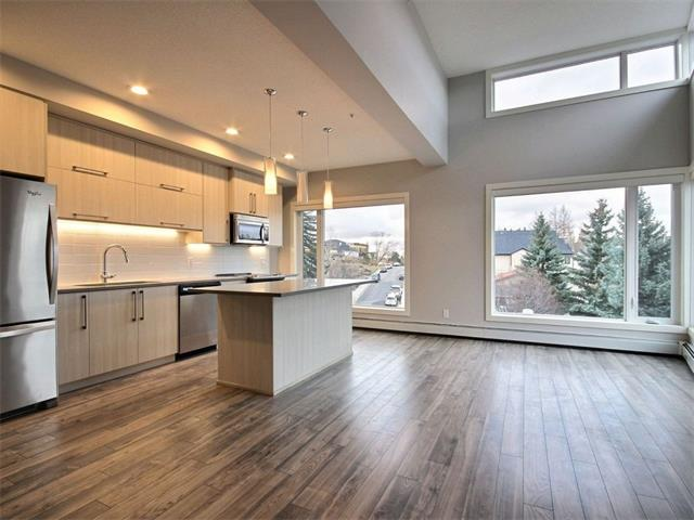 REDUCED FOR QUICK SALE! Brand new top floor, south- and west-facing (corner unit), 2-bdrm, 2-bath makes it irresistible. Mission 34s unique design gives this unit VAULTED CEILINGS, SUPERIOR VIEWS, NATURAL LIGHT and unique floorplan featuring high quality engineered flooring throughout that is sure to appeal to discerning buyers. Interior boasts lots of flat panel cabinetry upgraded to include glossy upper cabinets, quartz counters, 6 full-sized SS appliances, upgraded wide plank laminate flooring, kitchen backsplash and 12x24 porcelain tile. Large windows with SOUTH AND WEST EXPOSURE and roller blinds make the open kitchen and living area bright and inviting. The master bedroom features great closet space, Venetian balcony & a 4-pce. ensuite with quartz counters and full-height tiled shower. Guests or roommates can use the 2nd full bath across from the 2nd bedroom.