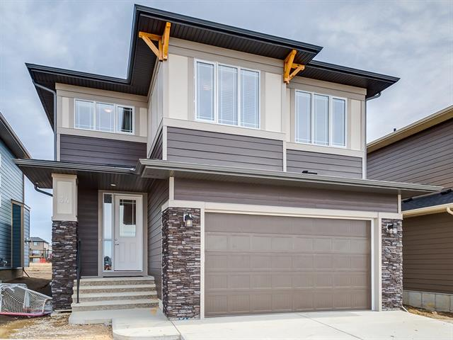 Brand new the Harlow built by Broadview Homes. This stunning home offers numerous upgrades & features which include: hardwood, tile, quartz throughout, floor to ceiling tile fireplace, built in lockers, top of the line Kitchen Aid stainless steel appliances, blind package, 12' X 10' patio, 4 bedrooms, 2.5 bathrooms, 3 bedrooms have walk in closets, 9' ceilings main & lower & so much more. The main floor features a 2pc bath, den, spacious great room with gas fireplace, large kitchen that offers an island, walk through pantry & a nook that offers access to the patio/yard. The upper floor features a 4pc bath, good size bonus room, laundry area & 4 good size bedrooms. The master bedroom offers a walk in closet & a fill en suite with soaker tub. The lower level is awaiting your ideas. This home offers neutral colors throughout & is close to green spaces, shopping, schools & easy access to Calgary. Click on 3D image
