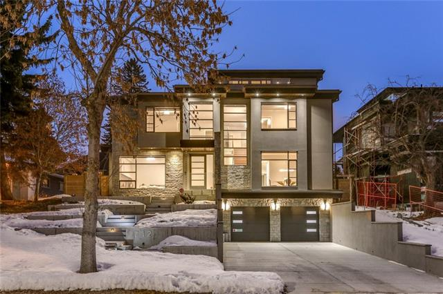 Stunning modern home in prime location. Custom built + finished in 2016. Over 6200 ft2 of top quality development. 4 car front-drive attached garage w/ snowmelt driveway for additional 4 vehicles. Soaring 20' ceilings + huge windows that amplify light throughout the home. Dramatic floating staircase, great room with ribbon-flame marble fireplace + large open dining room. Main kitchen w/ cross-cut walnut + cream cabinetry, professional appliances + glass wine room all overlooking the large rear yard. Butler's pantry + 2nd kitchen for spice, wok or catering. Den-playroom off the back hall. Four bedrooms on the 2nd level all w/ ensuites.  Luxurious Master w/ spa bath (huge shower w/ Kohler system), walk-through closet + private office (or dressing room-nursery). Family loft on 3rd floor atop the home w/ views from north balcony + huge south terrace.  Lower level offers guest/nanny space, fitness room + mud room. Extensive landscape features in architectural concrete.
