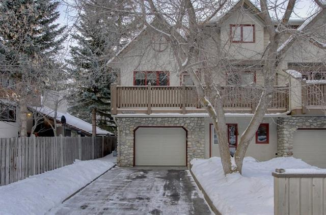 This Duplex has everything you desire for living in Banff; Great views of the mountains and landscape, 3 panoramic decks, large windows and vaulted ceilings, hardwood flooring, spacious kitchen with stainless appliances and an ample amount of cupboard space. With 3 bedrooms and 3 bath you will enjoy an open concept and a comfortable living room with river rock wood burning fire place. The master bedroom has amazing views, a large separate en-suite bathroom with jetted tub and separate shower. All the bathrooms have low flush (environmentally friendly) toilets. The lower level includes a large den or make it into another bedroom/office and there is loads of room for mountain toys / gear in the double tandem garage. Come and view this luxury Duplex in Banff.