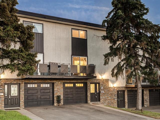 OPEN HOUSE SUN APRIL 15 --1200-230pm ----RENOVATED & CONTEMPORARY townhome is MOVE IN READY w/oversized ATTACHED garage & Driveway. Located in an AMAZING location surrounded by green spaces & minutes to the LRT, downtown, airport, shopping & schools! Did I mention its PRICED TO SELL! The MODERN kitchen has GRANITE counters, Glass backsplash, S.S. appliances, Mocha cabinetry & island w/seating & Storage. Off the kitchen is the large & bright living rm w/sliding patio doors that provide access to your spacious balcony w/great downtown & park VIEWS! Completing the main floor is a half bath & back door which takes you to the rear SOUTH patio & GREENSPACE! Upstairs is 2 LARGE bedrooms including the master w/ his & her walk in closets. The 4 pce bath has been updated w/ Classy TILE, new vanity w/ GRANITE counters, vessel sink & light fixtures. This home has gone through a complete overhaul & offers newer windows, furnace, roof, high end laminate floors, Granite, Contemporary TILE, ATTACHED GARAGE, neutral paint