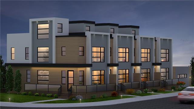 This luxury contemporary townhome boasts almost 2000 sf of development, a sunny west facing veranda, and a gorgeous 350 sf rooftop patio. It is centrally located in Capitol Hill close to everything (schools, downtown, restaurants, Starbucks, SAIT, UofC, North Hill Mall, transit, Confederation Park/Golf Course). It features an open concept main floor with a chef's kitchen that opens to the rear patio. The spacious dining and living areas round off the main floor. The second floor features a master bedroom with ensuite, 2 more bedrooms and laundry room. The top floor opens to a huge, private, sun soaked rooftop patio for those warm summer days. The basement features a huge family room (wired for 5.1 theatre sound), wet bar and bedroom. Smart home voice controlled features include audio/speakers, smart thermostat, smart door bell and lock and can be personally customized. This is 1 of 4 units for sale (two bedroom floor plans available as well) in this project. Construction completion scheduled for Sept.