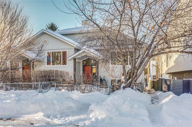 OPEN HOUSE: MARCH 11th 12pm-2pm. This renovated 2 bedroom bi-level is located in the heart of South Calgary and just a quick walk to trendy Marda Loop, 17th Ave. and quick commute to downtown. Highlights include vaulted ceilings, gleaming maple hardwood floors throughout the main level, a gas fireplace in the living room with tile surround and mantle, a renovated two piece bathroom, dining area just offer the kitchen featuring plenty of cabinet and counter space, a breakfast eating bar, upgraded stainless steel appliances and a new tile back splash. The lower level features two large bedrooms with ample closet space and large windows, a common four piece bathroom and laundry as well as a bit of a storage area. Enjoy the summer days ahead in the fenced and landscaped yard with your outdoor furniture. The exterior of the home has been well maintained with a newer roof and all the windows just replaced last year. Parking spot in the back, loads of street parking and public transit just steps away.
