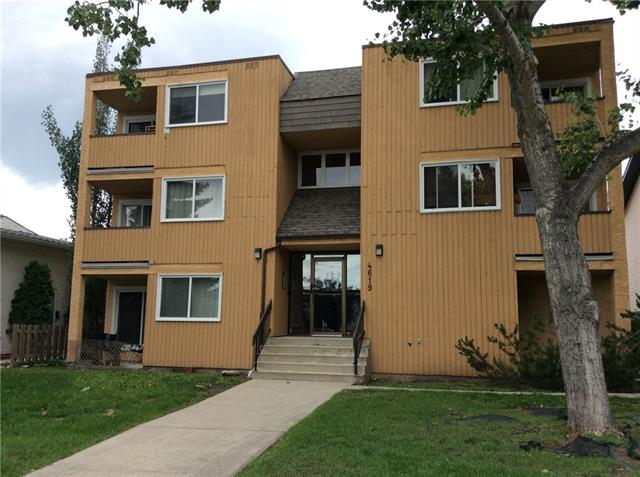 A beautiful 1 bedroom condo uniquely situated on a quiet street in the up and coming community of Bowness. This unit offers newer vinyl windows, laminate and tile floors, in suite laundry, good size kitchen with full height tile backsplash, newer interior doors, dining room, livingroom, bedroom and 4 pc bathroom, as well as a balcony of dining room that offers great view of COP. Excellent location.You can walk to local bakery or grocery store and the bus route is only a 1 minute away. Close to Schools, Shopping and Bowness Park Only 2 min drive.