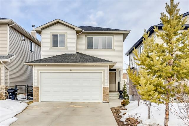 OPEN HOUSE: April 6th from 4-6pm & April 7th from 2:30-4:30pm. Enjoy the mountain views and the peace and quiet of backing onto an environmental reserve on a cul de sac in the community of Rocky Ridge! Main floor highlights include new white maple hardwood floors throughout that compliment the custom made white maple kitchen cabinets with granite counter tops, stainless steel appliances, gas fireplace in the living room and a den perfect for a home office. The upper level features a spacious bonus room, a common 4 piece bathroom and three sizeable bedrooms including the master featuring plenty of closet space and a private 5 piece en-suite. The lower level has a walkout to the back yard, plenty of sunlight and 9 ceilings. Plenty of opportunity for a guest bedroom, rec room and is roughed in for a third full bathroom. The sunny, west facing back yard has been tastefully landscaped and offers quick access to the environmental reserve and views of the mountains. This is the perfect place to call home!