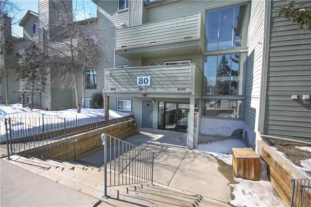 Under 10 min by bus to Mount Royal University. 2 blocks from major shopping center. Easy access to Glenmore Trail and Sarcee Trail.  Perfect Location for a first home or investment.  1 bedroom 1 bath apartment condo. Galley style kitchen with pass through. Large living room dining room with wood burning fireplace. Large master bedroom.  West facing covered balcony. So much storage in this unit with extra storage locker on the deck and huge storage room in suite (see photos) plus a walk in closet in the master. In suite washer and dryer included. Double sinks in the bathroom.  Walk up just 1 flight to get to this impeccable property. Includes 1 assigned parking stall. Condo fee Includes heat and water/sewer.