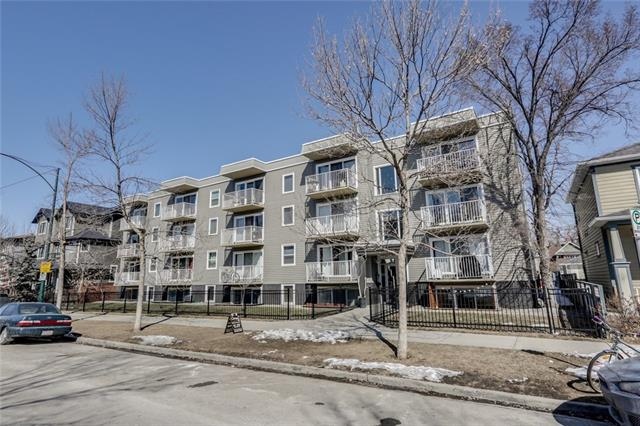 Fantastic condo in Sunalta! Amazing location with quiet tree-lined streets, single family homes, parks and no-thru streets; walk downtown, blocks from the C-train. Bright south facing end unit 2 bedroom condo at a great price! Freshly painted, newer appliances, nice flooring - this building has been recently updated and is very well run. Nice open floor plan is great for entertaining. Good sized storage room, low condo fees, new windows and siding. Assigned parking right out the back door, laundry is just down the hall or you have the option for in-suite hook ups. Great for a first time buyer - a great investment! So close to 17 Ave cafe?s, shopping, restaurants and bars but a nice, quiet neighbourhood to call your own. Unit is below grade.