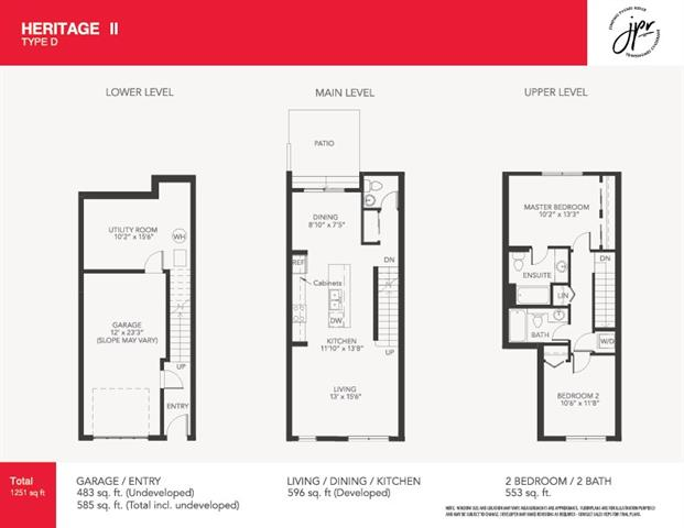 A natural and convenient evolution of our popular Heritage Floorplan. Welcome to the Heritage II, This beautiful 3 story townhome is located in a premiere neighborhood away from the hustle and bustle. Tucked away in the serene community of Jumping Pound Ridge, this area is a wonderful jump-off point to Cochrane, The Rocky Mountains, and Calgary.Trendy and urban-style townhome with European influences features a very convenient and open concept floorplan, with a bright main floor featuring 9' ceilings, 1/2 bath, laminate flooring, quartz countertops, full height designer white cabinets, stainless steel appliances (including Washer/Dryer), soft close drawers, window coverings throughout the home, track lighting and single attached garage (with storage space) Upstairs you will find 2 bedrooms both with their own 4pc baths and upstairs laundry. Lower level includes garage and Utility/Storage room!  Just steps away from the environmental reserve and walking paths. Please See additional remarks below.