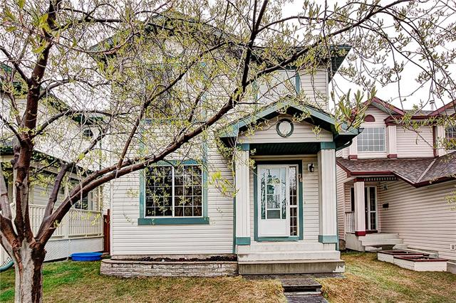 """Definite pride of ownership in this impeccably kept & beautifully maintained home! Nicely located on a quiet circle w/south facing backyard (not close to Deerfoot)! The spacious front foyer is open to the 2nd storey. You'll love the convenience of the front flex room. The family sized kitchen offers loads of cabinets, a corner pantry, SS appliances, island w/breakfast bar & sunny dining nook. The adjacent family room boasts cozy gas fireplace w/tile surround & oak mantle. Main floor offers easy care laminate flooring throughout. Upstairs you'll find 3 generous bedrooms - the master retreat easily fits a king sized bed & offers a 4 piece ensuite! The main bathroom has been beautifully renovated w/contemporary tub to ceiling tile. The sunny south facing backyard offers a massive deck & lower patio! Wired for hot tub! The whole home is cheery & bright. Truly a home to be proud of & a """"must see"""" if you're in the market!"""