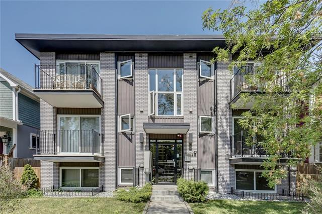 This top floor unit with a sunny, south exposure is located on a quiet street lined with trees and heritage homes in the quiet and mature neighbourhood of Sunalta. Highlights of this renovated one bedroom with open concept  include prefinished hardwood floors throughout, stainless steel appliances, granite counter tops, ebony oak kitchen cabinetry with plenty of storage, decorative subway tile back splash, flat painted ceiling with upgraded lighting fixtures and pot lighting and a dining area for four just off the kitchen. The French doors will lead you to the spacious bedroom with plenty of room for a King bed, double closets and the four piece bathroom featuring a deep soaker tub and a floating vanity. Enjoy the sun on the south facing balcony with room for a table and two chairs. This unit also comes with insuite laundry, a storage room located on the same floor as the unit and a titled parking stall. Located close to the trendy strip of 17th Ave, the LRT and just 5 minutes to downtown! Call to view!