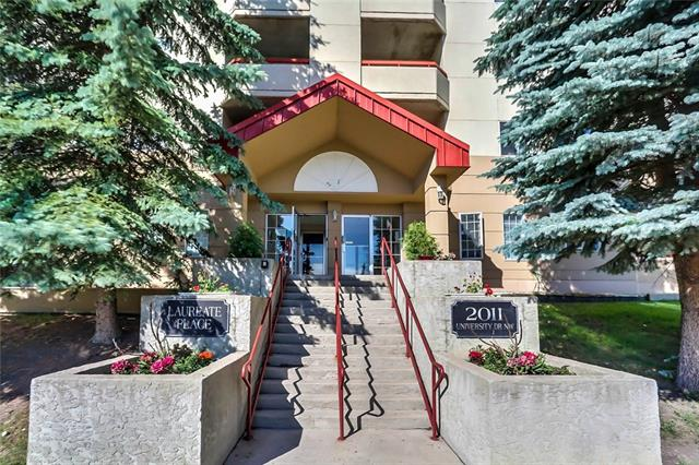 Great Location! Carpets in this unit being replaced Aug 1st. Building Carpets & Paint in Hallways & Lobby being Updated. Amazing Value! This large 2 bedroom suite w walk in closets & 2 (4 piece) bathrooms is ideal for the university student w cost sharing room mates. Located in a safe & secure concrete building (no dogs). Conveniently located. Only steps away from the University of Calgary, McMahon Stadium, Foothills Hospital, Bus, Ctrain & within the car2go home zone. This unit has non ceramic tile, carpet & laminate hardwood, the kitchen features numerous cabinets w an abundance of counter space, appliances include built in dishwasher, electric stove, hood fan, & fridge, an in-suite laundry w stacked washer & dryer plus storage area, a spacious formal dining area & living room. An east facing covered balcony for your BBQ pleasure & underground assigned parking stall #34. This ideal location is perfect for a Student, Investor or Professional. RMS 922SF. Appliances in As Is Condition.