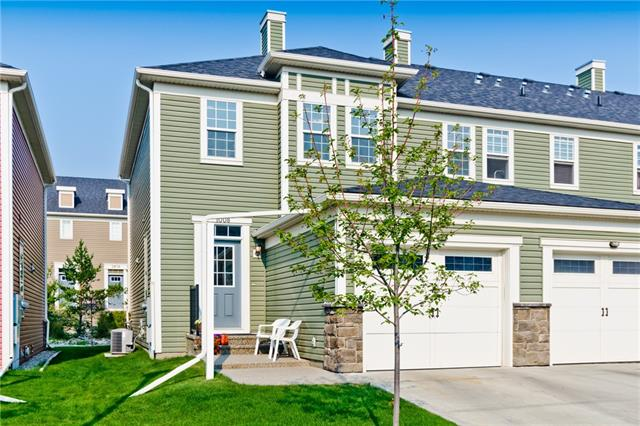 OPEN HOUSE this Saturday, Oct 20th 12 - 2 pm!!  This WONDERFUL 3 bdrm, 2+1/2 bath END UNIT custom townhome has central A/C  shows like NEW. It features gleaming maple hardwood throughout the bright & cheery main floor! Located in SILVERADO, it is steps away from 2 NEW SCHOOLS plus it has an over-sized single car garage + a basement - very family-functional! The kitchen has stainless steel appliances, a giant-sized eat-up bar & a custom walk-in pantry w/ an adjacent dining area. The spacious family room boasts a fireplace, built-in window seating & access to your west-facing patio w/ gas hookup. Upstairs is an enormous master bedroom with a 3 piece en-suite & walk-in-closet + 2 additional great-sized bedrooms & a 4 piece main bath. The basement is wide open & hosts the laundry area + a new hot water tank. SILVERADO is a SUPERB community & it has EVERYTHING you need -grocery stores, shops, restaurants, NEW schools, excellent public transit - all tied together with a series of established bike/walk pathways.