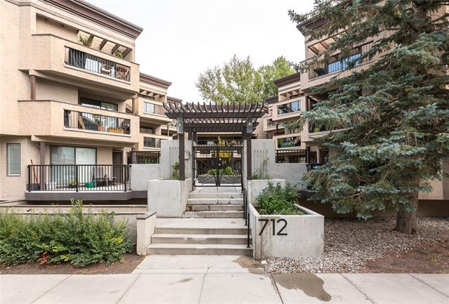 Beautifully updated, INNER CITY, 2 bedroom condo with UNDERGROUND, heated parking stall and STORAGE & in-suite laundry. Maple cabinets, classic black kitchen appliances, raised eating bar, brand NEW seamless hardwood floors throughout, jetted bathtub. This is CORNER unit on the main floor offers lots of natural light and the largest patio in the complex with shade and privacy. Additional recent upgrades include new baseboards, new custom baseboard heating covers, tile, paint and window coverings. Private entrance, secure, gated building with beautiful courtyard with additional visitor parking stalls. Located on a quiet street, one block away from transit, only 20 min walk to downtown city core, walking distance to shops, restaurants and trendy Bridgeland. Move in ready, don't miss this terrific opportunity!