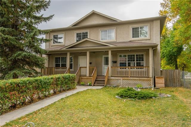 Sought after location! Rare opportunity to purchase in desirable North Glenmore Park for under $500k. Walk to Mount Royal University and Atco Gas HO. Walk to schools K-12. Blocks from swimming pool, tennis courts, golf course, river walks & reservoir. Easy access to Rockyview Hospital, Chinook Mall, Marda Loop & downtown. Building sides on to park & playground. Bright & open plan, maple floors, living room w/a gas fireplace,  large windows, maple kitchen w/ granite counters & a pantry. 2 piece bath on main. Large upstairs master w/ ensuite incl walk-in tile shower, soaker tub, PLUS walk-through closet. 2nd bed upstairs, w/ full bath. Dev?ed basement has built-in speakers & rough-in for theatre. Just off kitchen is 2-tier deck w/ table & benches, a raised garden bed in south-facing backyard. Double det garage. Both sides of duplex are avail (but can be purchased separately) w/ ability to live in one & rent out the other. See it soon!