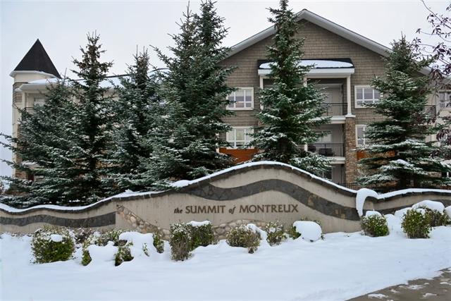 Exceptional, northwest corner condo in the desirable Summit of Montreux. Steps to Aspen Landing shops and amenities, this 872 square foot, executive condo offers 2 spacious bedrooms, including a sizable master complete with a 4-pc ensuite, full second bathroom and a unique corner floor plan that is showered in light all day long. This unit also offers upgraded laminate flooring, ample maple cabinetry, Bosch appliances, massive breakfast bar and eating area. Painted in warm contemporary tones, extensive windows and an oversized patio for you to enjoy warm summer days and evenings. This well-run complex offers an impressive fitness facility, ample visitor parking, indoor bike storage, plus TWO titled parking stalls and private storage locker. Ideally situated in Calgary?s Westhills with easy access to transportation, the West LRT and Westside Rec Centre.  Call today to view this impressive home.