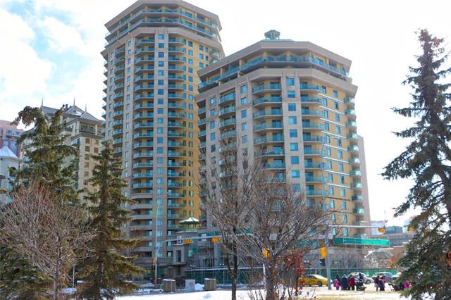 This wonderful one bedroom PLUS DEN floor plan is just steps from the Kirby LRT station, Bow River pathway. Walking distance to Kensington, Midtown Co-op, Prince's Island Park, restaurants, shopping & more. The apartment's kitchen has tile floors, lots of counters, cabinets & breakfast bar. The living room provides you with laminate floors, gas fireplace & room for a sectional couch. The den is ideal as an occasional guest room, home office or extra storage. The in-suite laundry is tucked away but there when you need it. The queen sized bedroom has a spacious walk in closet. The 4pc bathroom features a full sized bath & shower. The deck is massive with gas outlet & plenty of room for entertaining. This building will amaze you; 2 games rooms with full sized pool table, table tennis & more. The fitness centre with ample cardio & weight equipment, a party room with full kitchen, multiple seating areas & private patio. Titled, secure underground parking spot.The building also has P/T security & concierge,
