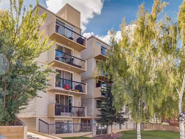 This inner city gem with high walkability index located in Lower Mt. Royal is move in ready. Walk to work down town or 17th Ave for restaurants in minutes, the location 2 blocks off one of the most popular streets in Calgary is hard to rival.  4th floor living has never been so fine with views of downtown and a nice tree to the east of the balcony which does not detract from your views.  This 2 bedroom condo is in a quiet concrete building with the unit itself boasting laminate and tile throughout the main living area and kitchen with carpet in the bedrooms.  Recently painted to give the place an update, the quality of workmanship is top notch that has held up since its 2001 renovation.  The master bed is on the south side of the building and living area on the north side.  This unit is on the end of the building with the stair case and elevator separating you from your neighbours, offering a little more privacy than most units.  Covered titled parking with an ample size storage locker at the parking spot