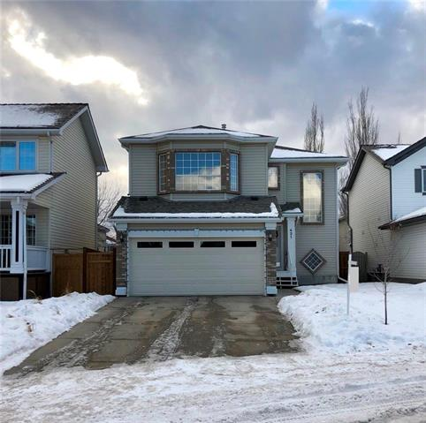 This pretty home is located on a fabulous no through family friendly street with green space. It has easy access in & out of the community & it is close to the library, shops, restaurants & a 10 minute walk to the YMCA. It also has quick access to transit. Notice the long driveway making camping preparation a breeze. Your large RV & truck will fit on here. As you enter the open concept living space notice the large windows across the majority of the back of the home. This allows the sunshine to pour in & features views of your backyard. The living room opens up to the kitchen & dining nook. The island is huge, there is tons of counter space & there is a walkthrough pantry. The laundry area is neatly tucked away on the main floor. Upstairs is a generous sunken bonus room with cozy corner fireplace & more large windows. The master bedroom will easily handle a king size bed & it features a 4 piece ensure. The secondary bedrooms are also a good size. This home has new baseboards & knockdown ceilings.