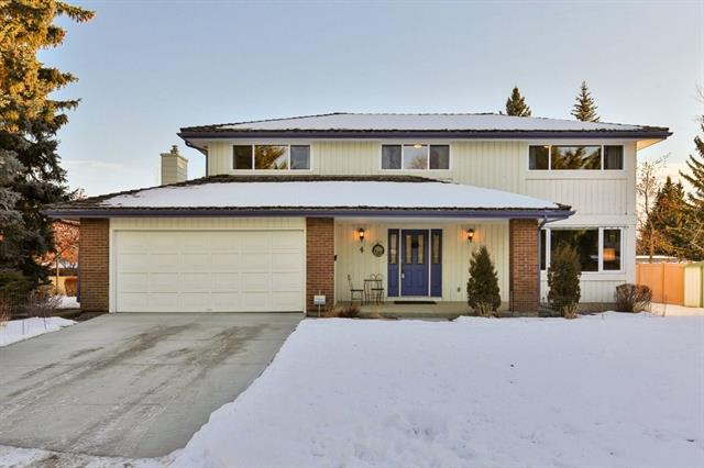 Looking for that dream location close to the University of Calgary, Market Mall, Public Transportation with easy access to Downtown? Fantastic opportunity to own an over sized lot on a quiet cul-de-sac.  A covered front porch welcomes you into this 2 storey family home that backs onto a walking pathway. Enhancements include�vinyl windows, cedar shakes, 50 gal hot water tank & plumbing, baths & central air. The main floor foyer opens to the large, bright living room. The bright dining room flows thru the kitchen to the breakfast nook. A cozy family room has a brick gas fireplace & patio doors to rear deck. Laundry & 2 pce bath also on main. Upper level has a spacious master bedroom/4 pce en-suite bath/walk in closet & 4 add. bedrms & another 4 pce bath. Partially developed basement has an office & den, storage, cold room, ready to complete & develop to your personal style.� You'll love the big dble attached garage & extra large front drive & lots of parking. One of the quietest & best locations in Varsity.