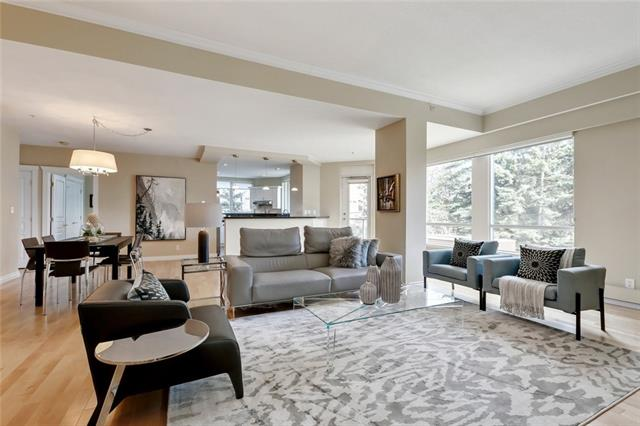 WELCOME TO LUXURY LIVING in fabulous Mission! This bright, spacious & peaceful 2 bedroom + 2 bath unit is located in the highly coveted & arguably most prestigious building in all of Calgary. The Grandview provides its residents w/ unparalleled service, property management & building amenities incl: 24 hr concierge, guest suites, car wash bay, beautifully landscaped grounds, private courtyard w/ pergola, full kitchen + grandroom for large gatherings, as well as historic Lang House to enjoy a spirited game of cards or quiet place to read. This elegant 1518 sq.ft. unit overlooks the private courtyard, offering both tranquility, privacy & an abundance of natural light. Features incl: stainless appliances, granite counters, fresh white cabinetry, built-in bookcases, oversized balcony, in-suite storage + laundry room, 1 titled parking stall + 1 titled storage unit. Enjoy a stroll along the stunning river pathway & the fabulous boutiques, restaurants & coffee shops of 4th Street. Simply move in & enjoy!