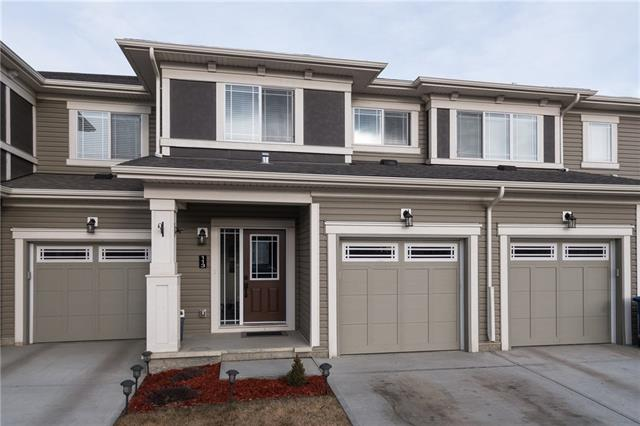 NO CONDO FEES! This beautiful townhome is a great location on the outskirts of Airdrie. It has 3 beds, 2.5 baths, & it?s a generous 1,405 SqFt. Each aspect of this home is clean, it?s very well looked after. The main floor has a gorgeous kitchen with light brown cabinetry, a large corner pantry, & like-new SS appliances. Lighting in the kitchen has potlights, pendant lighting over the island, & under-the-cabinet lighting too! Tons of natural light on the open concept main floor. There?s also a convenient powder room on the main floor. Upstairs the MSTR BED is huge with enough room for a king bed & a large window for lots of natural light. The ensuite is beautiful & is complemented by a walk-in closet with built in racks for storage. Laundry has its own room upstairs with a great washing & drying machine. The main bathroom is split into two parts for easy morning routines. An unfinished basement, a private deck, & single garage means lots of space for BBQ, storage, and flexible space for whatever you need!