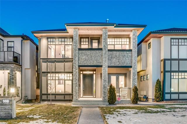 Simply THE FINEST - 4400+ sqft of Sheer Elegance in this Modern Masterpiece will take your breath away! Situated on a 37.5' x 135' lot on the most sought after street in Hillhurst. Towering stucco & stone, 6 bedrooms (4 up), 5 baths, main floor den w/ doors to the front deck w/ park & sunset views. 10' ceilings, 3 fireplaces, AC, wide planked floors & unsurpassed walnut millwork is the epitome of sophistication! Gourmet kitchen - site built walnut cabinets, double pantry, waterfalled island & professional grade Wolf & Subzero appliances. Matching walk thru butler pantry to formal dining. Great room, ribbon fireplace & wall of glass & access to the most amazing deck & patio for entertaining! Opulent master, walkin closets, large balcony & lavish ensuite w/ fireplace, air jet tub, steam & heated marble floor. Rare 4 upper bedroom plan (the 4th having an ensuite). Lower w/ massive family/media room, wine wall, games area & wetbar. 5th & 6th bedrooms, infrared sauna & guest bath. The FINALE - a TRIPLE GARAGE!