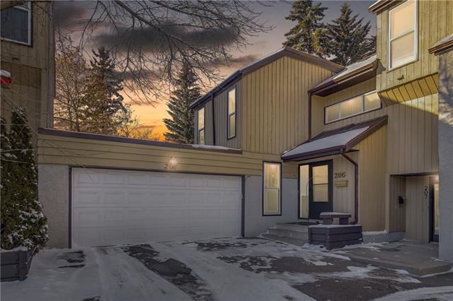 See the pride in ownership as you walk through this fully developed 3 level private end unit! Main floor is bright and open to dining area and living room with vaulted ceilings. Enjoy a spacious deck (new in 2018) with large patio doors allowing lots of natural light to flood the space. Kitchen offers lots of counter space with a functional efficient layout and newer appliances. Second bedrm also located on main floor with ensuite bathrm. Upper floor features a private master suite with a 4 piece bathrm, large bedrm and a loft office/den area. Functional basement comes with a second large living room, full bathrm and a possible 3 bedrm. Newer high efficiency furnace (2014), hot water tank, central vac and water softener rough in are only some of the additional added value! Enjoy parking in your heated DOUBLE car attached garage with NEW garage opener and door (2016). This cozy complex is located in a mature neighborhood nestled close to transit, shopping and major roadways makes this a rare find!