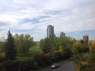 SPECTACULAR UNOBSTRUCTED VIEWS.... Overlooking SHAGANAPPI GOLF COURSE. Safe quiet EXECUTIVE condo that feels like a house with great amenities. This BRIGHT and SOUTH facing condo is in immaculate condition. Located in COPPERWOOD'S only CONCRETE building, this LUXURY 1 BEDROOM + DEN is BEAUTIFUL. Features include a formal entrance, open galley-style kitchen with bistro bar, maple cabinets, corian countertops, spacious living room with corner gas fireplace and access to the balcony with BBQ gas line. Large master bedroom with his/her closets, huge 4 piece bathroom with 2 separate entrances & in-suite laundry. This modern executive complex offers titled underground heated parking, storage locker, car wash bay, bike storage, craft room, large well equipped gym - yoga classes offered, party room, meeting rooms, and guest suite. Superb location, walk to Westbrook LRT station, shopping, Bow River Pathway system, 8 minutes to downtown. Cross country skiing available during the winter months.(see add remarks)