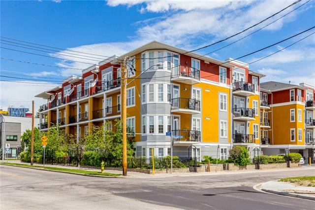 Gorgeous, Sun-Drenched, South Facing unit in MISSION! Enjoy this prime location just in time for the summer. Steps to the Elbow River, this open-concept 1 bedroom + den floor plan is what you have been waiting for. Features include hardwood floors, SS appliances, 10 ft ceilings, maple cabinetry, in suite laundry, in suite storage, and a great south facing balcony with gas line. Embrace the lifestyle of being in such a lively neighborhood, and close to all the action, restaurants and nightlife on 4th street, 17th ave, Downtown, Repsol Centre, & Stampede park. Heated, titled U/G parking, U/G Visitor parking, and lower than average condo fees for the area in a solid, well managed, secure building make this condo a MUST SEE! Great investment property, easily rent-able - Priced to sell!