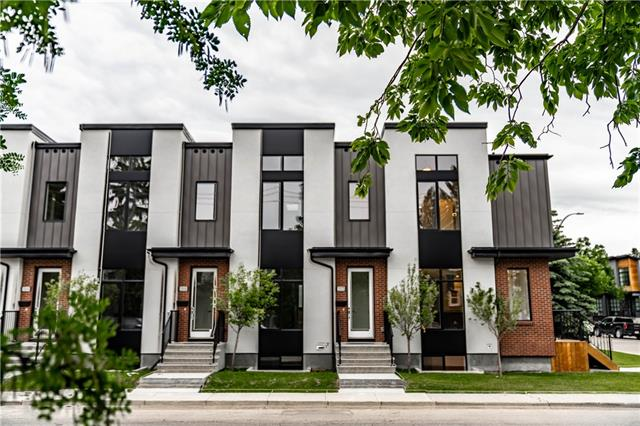 """*Please Watch The Video* Open House Saturday Sept. 14 - 2-4 pm! * Welcome to Capitol Hill's best value on a BRAND NEW townhome.  This four-plex has been built by the uncompromising Sinclair Signature Homes, and each unit is unique to itself.  #1804 features 2 large bedrooms up, both with ensuites, and a 3rd lower bedroom in the finished basement.  High end features can be found throughout - plate glass wall/railing divider, FISHER & PAYKEL appliances, 7-1/4"""" engineered hardwood floors, beautiful tile work, a gas fireplace, a WET BAR (serious!) and 3.5 bathrooms.   With nearly 1700 sq. ft. plus a great outdoor space AND  a single garage - there is nothing left to do here, but enjoy your new modern, highly designed, yet incredibly affordable town home.  Located on 24th Ave. NW, just a short ride/walk/drive to the University of Calgary, Sait, and all that inner city living has to offer, this is a TRUE opportunity."""