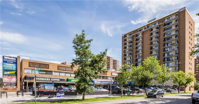 Best value in Beltline inner city living! Excellent location close to everything for this very affordable unit in a quality built concrete high-rise building. You can walk to work downtown, L.R.T is only minutes away to commute to S.A.I.T, U.of C, easy stroll to 17 Ave.SW restaurants, entertainment district, schools, shopping and recreation. The building is well managed and safe, with many amenities including 2 elevators.The unit has been recently renovated and updated with new bathroom fixtures, new flooring and wall paint.Outside has been landscaped to enhance the appeal of this great estate property.Comfortable and move-in ready, why not come and check it yourself? Since the #9 parking stall is conveniently located behind the commercial strip mall, there is an opportunity for new owner as it could be leased out if parking not required.