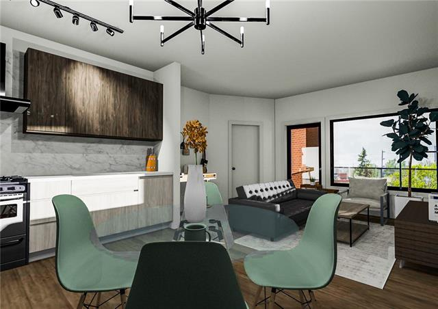 Welcome to the Irvine in the heart of Inglewood - Calgary's hippest and trendiest community. With a Summer 2020 possession, you can own one of Calgary's best values in a new, high end condominium high-rise at an incredible price. Located right on 9th Avenue, you are just across the street from Rosso Roasters, walking distance to countless vintage shops, designer boutiques, countless craft breweries, the river, the zoo, and of course - all of downtown and East Village! Suite#306 is 553 sq. ft., 1 Bedroom, 1 Bathroom, in-suite laundry, an 80 sq. ft. balcony, and unobstructed views south over residential Inglewood. You'll LOVE the 9' tall ceilings, air-conditioning, Kohler fixtures, quartz countertops, Blomberg appliances and beautiful wide plank vinyl flooring.  The building itself features a design that pays homage to the history and character of the community, but features main floor retail spaces and high speed elevators!