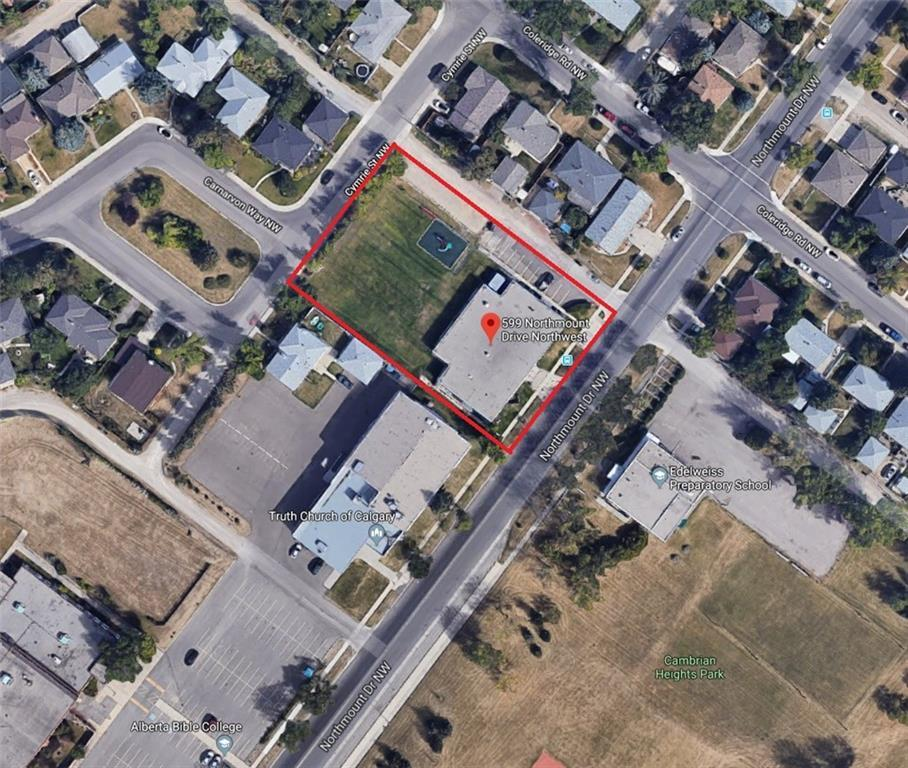 **PRIVATE SCHOOL use building for sale. Prime 3-sided level land for potential multi-residential redevelopment in edge of inner-city Cambrian Heights.** Total 36,813 SF lot with 160 FT frontage and 230 FT depth. Potential apartment development at 3-4 Storey. Currently DC (26Z2002) and R-C1 land use. Facing the park and just 13-minute drive to Downtown. Alternatively, you may operate a private school or religious building (church, mosque, temple) here. Existing 13,343 SF building can be used as child care/daycare. There is no larger prime residential lot for sale at this price in Calgary. Please DO NOT approach existing tenant. Offer subject to viewing. Selling for LAND VALUE ONLY.