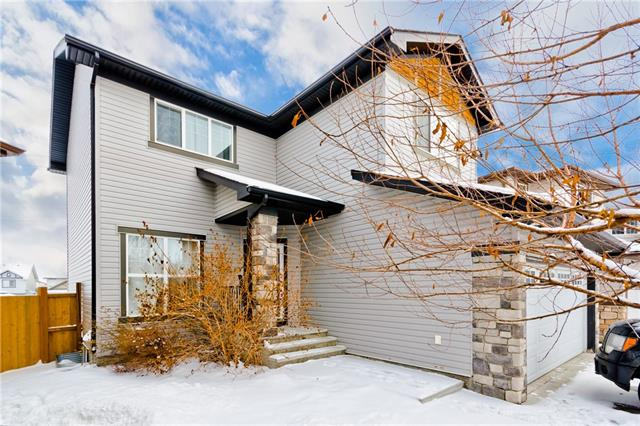 A gorgeous modern residence situated on a large pie lot that is proudly recognized in the community of Airdrie. This charming home features approximately 1,738 square feet on 2 levels of living with several areas for entertaining, a walk-out balcony with access to the child safe fully fenced backyard. Exquisitely appointed, the home was beautifully designed with features starting with, a grand custom kitchen, large centre island, a walk-in pantry, an adjacent family room with large picture windows & formal dining areas with rich hardwood flooring though out the main floor, and a roaring pinnacle fireplace. Upstairs you find three bedrooms, including a master with sparkling 5 pc ensuite and walk in closet. The bonus room makes this floor plan complete for a separate media room, upper loft office and a 4pc main bath. There is a 2-car insulated garage, and driveway additional parking. Just minutes to schools that have a fine reputation in a wonderful neighbourhood.