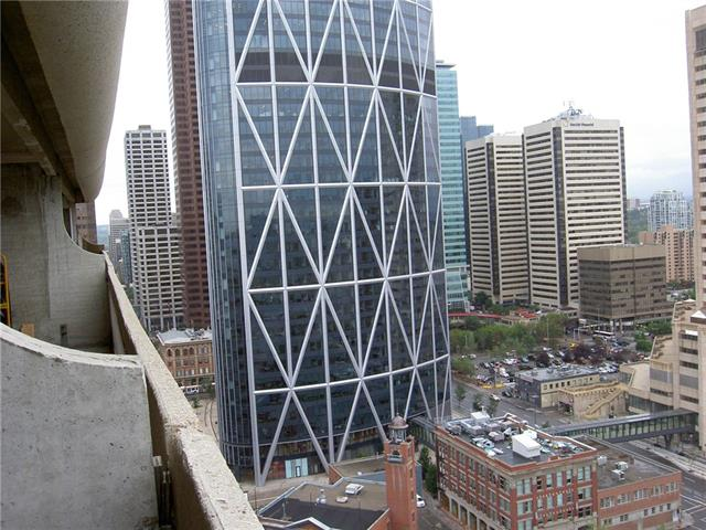 Welcome to the bright and beautiful 25th floor studio bachelor suite in the heart of downtown Calgary. This is a perfect suite and location for students, professionals and first time buyers. This is an open floor with den suite which offers many options. This suite has an amazing view of the city, and rivers all around. The suite is conveniently located 1 block to the C-Train Station, and is within its free fare zone, the Olympic plaza, Telus Convention Center, East Village and the Stampede Grounds. It is walking distance to the amenities on Steven Ave, along with cafe's restaurants, shopping centers, China Town and many biking and walking pathways including Prince's Island Park and Eau Claire. The onsite amenities include an exercise room with new equipment, a sauna, squash court, and a rooftop patio, as well as a onsite manager, a rental pool for investors and parking may be available for rent. This condo has been freshly painted and all new flooring  installed .