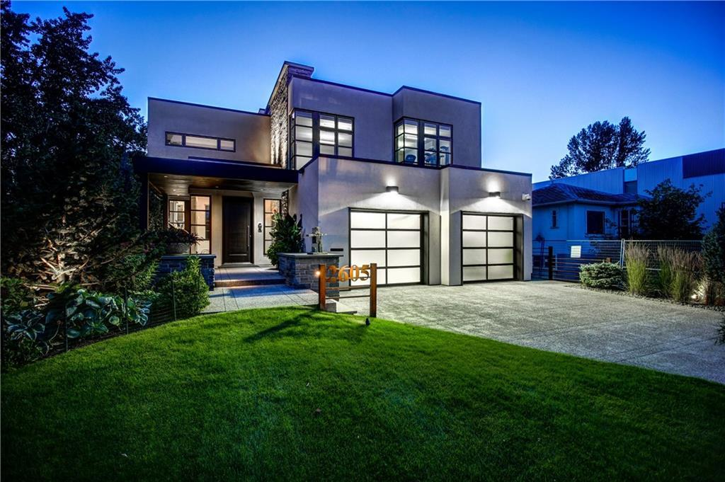 An architectural masterpiece on a 50x150' lot alongside a park and the Elbow River. This breathtaking home offers over 5,600sq.ft of luxury living space by Nam Dang-Mitchell interiors, 1,300sq.ft of outdoor terraces, and an extensively landscaped yard. Features include heated limestone, solid white oak & ceramic tile floors; Caesar Stone, granite and marble countertops; reconstituted eco espresso stained oak cabinets, built-ins, and wall features. Floor-to-ceiling windows allow sunlight and beautiful views to fill the open living space. The main level flows outside to a private oasis with in-slab snowmelt, flame feature, covered & heated dining area, and an outdoor kitchen & BBQ. The open riser staircase is accented with a 3-story chandelier. The master suite boasts a spa-inspired ensuite, walk-in closet/dressing room, and balcony. Office, laundry and fitness room (could be converted to 2 beds) complete the upstairs. Theatre room, game room w/ bar, 2 beds+2 baths down. Triple garage & snowmelt driveway. This home was built with quality construction - a few notable features include top-of-the-line Gaggenau appliance package including an induction cooktop. Snow melt system on all driveways and decks. Steel-reinforced concrete foundation footings and walls. Kolbe Low-E 270, 6 mil double-paned windows. 2x6 and 2x8 exterior walls with upgraded insulation. 12 zones of in-floor heating. 4 zones of heating, cooling, and humidification. Fully integrated and unified Creston home automation system. See Realtor's website for more details. An amazing location in the heart of Calgary's inner city. This home is a short walk to the Stampede Grounds, Repsol Sports Centre, and to shopping and dining of 4th Street and 17th Ave. A convenient commute to the downtown core by walking, cycling, Ctrain or car.