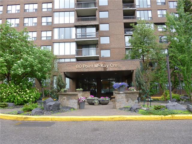 } OPEN HOUSE SATURDAY 2-4:00 PM{ *LOCATED ON THE BANKS OF THE BOW RIVER*  PLEASE NOTE: REDUCED $15,100! SPACIOUS TWO BEDROOM 8TH FLOOR SKYHOME.  QUIET S/W CORNER. UNOBSTRUCTED VIEWS OF THE RIVER & HILLSIDE FROM EVERY WINDOW.  FLOOR TO CEILING WALL OF WINDOWS HAS HIGH END WINDOW COVERINGS. SPACIOUS LIVING/DINING ROOMS. FUNCTIONAL KITCHEN WITH WINDOW OVER THE SINK. SECURE INDOOR PARKING & CAR WASH BAY. FEES INCLUDE ALL UTILITIES INCLUDING ELECTRICITY. WALKING, BIKING & JOGGING PATHWAYS ALONG THE RIVER LEAD TO MANY POINTS OF INTEREST INCLUDING DOUGLAS FIR TRAIL, CANADA OLYMPIC PARK, TRENDY KENSINGTON, EDWORTHY & BOWNESS PARKS. MEMBERSHIP TO THE ADJOINING RIVERSIDE CLUB & WELLNESS CENTRE WITH SALT WATER POOL, GYM, GOLF ACADEMY & TENNIS COURTS IS OFFERED TO RESIDENTS AT A REDUCED MEMBERSHIP FEE. COURTEOUS 24/7 CONCIERGE. IT'S LIKE LIVING IN A RESORT WITH NO CHECKOUT TIME. MINUTES TO DOWN TOWN, U OF C, MARKET MALL, CHILDREN'S & FOOTHILLS HOSPITALS. RIVERSIDE TOWERS II IS A WELL BUILT CONCRETE & STEEL HIGH-RISE!