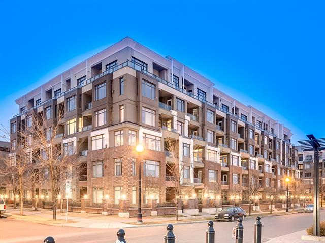 """Situated in the heart of Bridgeland, a desirable inner city community that you will love for the location and lifestyle. This freshly updated 1 bedroom unit with new bathroom and new paint in Pontefino1 has much to offer! From its location; walkable distance to LRT c-train station and downtown, the Calgary Zoo, new St.George's Island and pedestrian bridge and the Bow River with its vast walking and biking pathways. To schools, charming shopping, caffes and restaurants, living here is a vibrant life. The unit itself offers value with features like 9"""" ceilings, gas corner fireplace, fourth floor location, private courtyard view and balcony. In suite washer and dryer, double closet in the bedroom, raised eating bar in the galley style kitchen with full sized black appliances, newer laminate hardwood floors and oak cabinets add to the value. Heat and water included in reasonable condo fees. There is secure parking with bike storage, woodworking station and visitor stalls. Amazing value and a must see"""