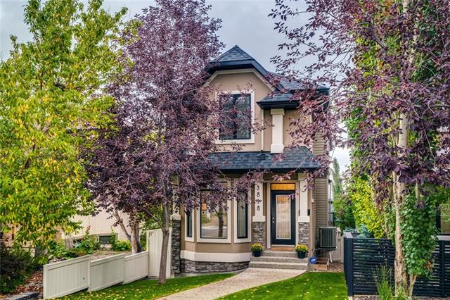 OPEN HOUSE Sat & Sun Sept 14 & 15, 2-4PM. Fabulous detached fully finished 2-storey with a walkout basement in the heart of Altadore! This home has been meticulously maintained and is on a quiet street just blocks from the centre of Marda Loop. Main floor features open island kitchen with custom cabinetry and loads of storage, built-in dining banquet and bar area and living room with built-ins, fireplace and a wall of doors that open to your large deck with BBQ gas line. Front sitting room could be a formal dining room. A wall of windows leads upstairs with more light from skylights. Master features downtown views, vaulted ceilings, 5-pc ensuite with air tub and separate shower plus his and her closets. Laundry up. Walkout basement has large family room with fireplace and a wall of sliding doors to your backyard, 4th bedroom and storage. Oversized garage with cabinetry to get organized. Lovely landscaping, custom window coverings from Robert Burns Interiors, central AC, loads of upgrades in this fab home!