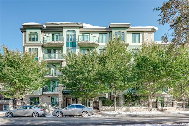 Fantastic opportunity to live in the ever-popular La Rive building in trendy Mission! Enjoy riverside strolls on miles of pathways. Walk to the 4th Street district for shopping, entertainment & restaurants. Minutes away from the Stampede C-train Station for a quick commute to City Centre. This main floor ?garden unit? allows you to access your unit without using the common building hallways; Step out your patio doors into a private, fenced, outdoor living oasis surrounded by mature trees & shrubs. Very convenient for dog owners! Inside you?ll discover a spacious open plan drenched in natural light! Mocha stained kitchen cabinets feature stainless steel appliances & granite counter tops. Sit up at the breakfast bar & enjoy open views of the living room complete with gas fireplace & floor to ceiling windows to enjoy the tree lined views! Built-in activity desk with storage cabinets. Large master bedroom will fit a King-sized bed! Low maintenance tile & wide plank flooring.