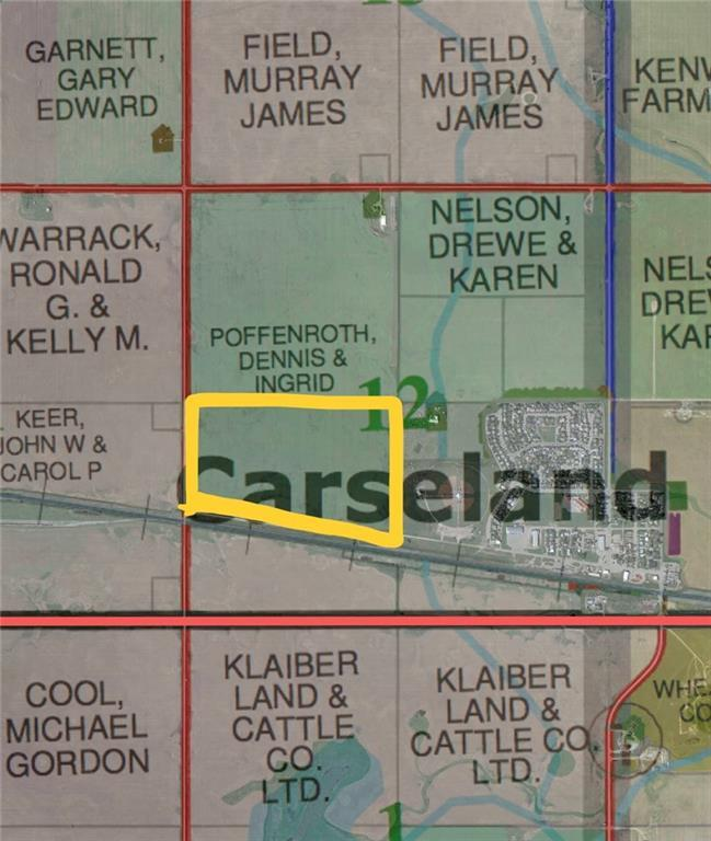RESIDENTIAL LAND DEVELOPMENT / LAND BANKING OPPORTUNITY!! 93.07 acres of cultivated land inside the town limits of Carseland, Alberta.  Go to Carseland West Area Structure Plan located on the Wheatland County website -  www.wheatlandcounty.ca for more information.  Goldfinch Industrial Area Structure Plan lies just to the west of this property along Hwy 24.