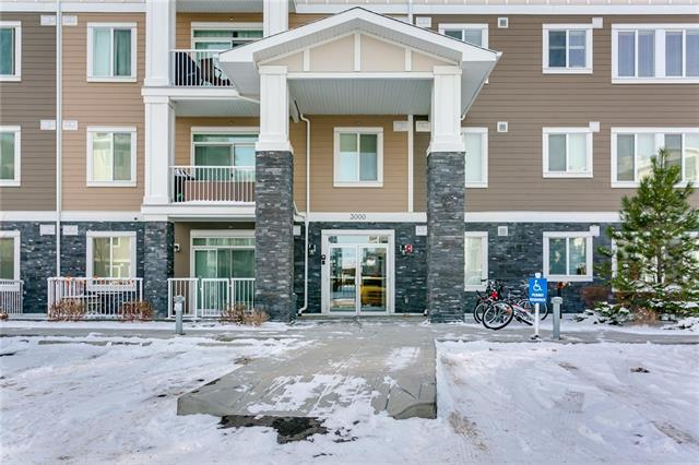 Welcome to Cranston Ridge! This almost new unit has an open floor plan with a good sized kitchen that features plenty of cabinets and counter space and a breakfast bar. The bright living room has access to your west facing covered balcony. 2 bedrooms, a 4 piece bathroom and insuite laundry complete this unit. The second bedroom does not have a window but does have a sprinkler which meets the Alberta Building code.  Also included is 1 titled surface parking stall. The Cranston Ridge complex is located close to parks, transit, shopping and the South Calgary Health Campus.
