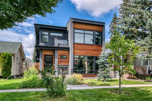 """Modern elegance meets a rustic warmth in this refreshingly unique open concept inner city home! Step inside a bright modernized floor plan w/ 10f & 9ft ceilings, hand scraped maple hardwood floors, two outdoor fireplaces, modernized lighting, minimalist style kitchen, home gym & wine cellar. A gorgeous reclaimed brick fireplace w/ rough-hewn timbers showcases the front living & alongside a wall of windows to amplify the spaces warmth. A simple, yet extravagant style kitchen optimizes its counter space, offers clean lines & boasts a 48"""" Bertazzoni gas range, Subzero fridge, dual dishwashers & contrasting island that can seat up to 6. Diagonal to the kitchen features an extravagant dining rm w/ recessed ceiling featuring rough-hewn timber & a wall of glass that opens up to the back patio & exterior gas fireplace. A main floor office w/ barn door & mud rm complete this main floor.  A glass rail staircase takes you to the upper level featuring 2 bedrms complete w/ private ensuites, laundry & master suite"""