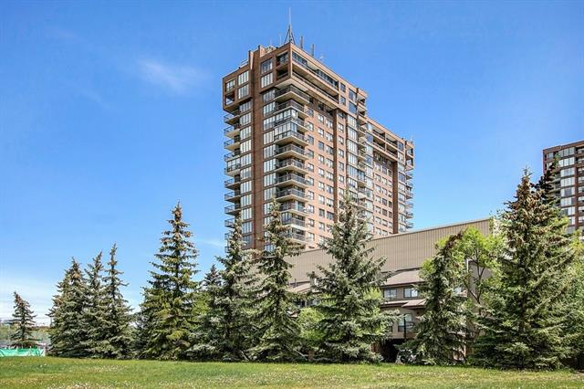 "REDUCED: You'll be amazed at the amount of natural light in this SOUTH-FACING condo. With 1,084 sq. ft. of living space, the open layout of this CORNER-UNIT is the best layout. Enclosed balcony (with added in-floor heating) provides more year-round usable space and nice ""JULIET BALCONY."" 2-bedrooms + 2 FULL bathrooms allow for both privacy and space. The master bedroom features a RARE 3-PIECE, ENSUITE BATHROOM & walk-in closet. It's a pet-friendly, age-restricted building (18+ for occupants). Additional features include in suite laundry conveniently located by the kitchen, storage room, underground parking and a separate storage locker. The location is just steps away from Edworthy Park, river pathways and only a short drive, cycle or walk to the downtown core, University of Calgary, Foothills and Children's hospitals. Complex provides 24-hour concierge, basic utilities, visitor parking and a discount is offered to all residents by the Riverside Club."