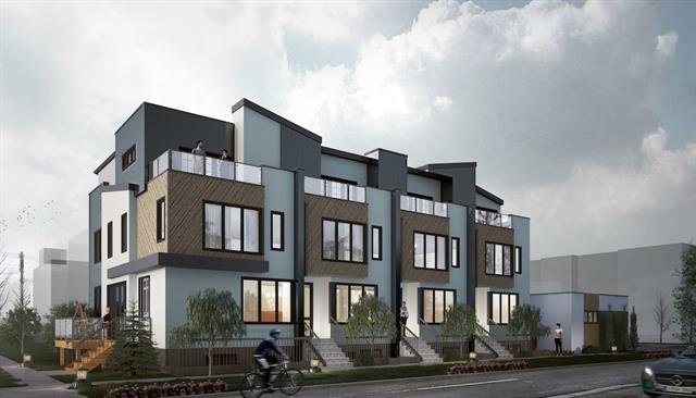 Now pre-selling this to-be-built unit. Unbeatable location! Located in the heart of Sunnyside. Imagine yourself bike or walk across peach bridge to work and the benefit of walking to  the Kensington shopping district, LRT, Riley Park, Bow River and Downtown. With thoughtful architecture design and professionally interior design this end unit 3 story home has tremendous natural light & a one-of-a-kind floor plan.  It offers over 1700 sq feet above grade living space. Stunning entrance opens to a large main floor perfect for entertaining. Units feature open, well-designed floor plans with two ultra large bedrooms each has ensuite and walk in closet on 2nd floor. Super large master bedroom with deluxe ensuite, walk in closet and private balcony completes the 3rd floor. The Unique Walk-up basement with separate entrance offers very versatile options for accommodations for large families or extra rental income.