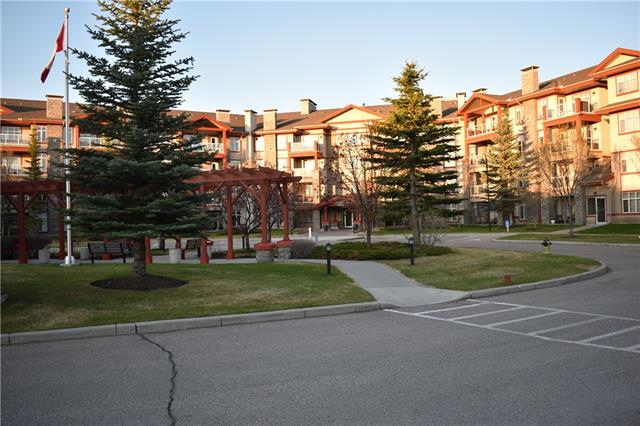 This is a wonderful large 1 bedroom + den unit in the prestigious Bonavista Estates II. Located on the third floor it faces into the courtyard ? lovely to sit on your balcony and enjoy the lights of the xmas season and the beautiful landscaping in the summer. The master bedroom is large with a walk thru closet into the 4 piece ensuite. The den is a good size too and has many uses ? it is currently used as a second bedroom. There is a another 3 piece bathroom and a large laundry/storage room. This building houses the lovely clubhouse with a full kitchen, fireplace, billiards table and card tables, A movie theatre, fitness facility and guest suite complete this lovely complex.  There is an underground parking stall and storage unit and the parkade has a car wash. This complex is in a perfect location next to the Avenida shoppes and within walking distance to the train station and Southcentre mall!