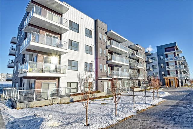 Spectacular top floor corner unit with sweeping mountain and park views located in the heart of Seton, Calgary's most popular live / work community. This 2 bedroom, 2 full baths, fully upgraded unit comes with 2 titled parking stalls, air conditioning, full-sized laundry room, and loads of extra large windows. The kitchen features an upgraded stainless steel appliance package, eat at breakfast bar, and loads of cabinetry. The master bedroom features a full walk-in closet and huge vanity with double sinks. There is yet another full 4 pc bathroom, plus the 2nd bedroom. Add in upgraded flooring & lighting fixtures, plus upgraded hardware and you've got a luxury sky-box like no other. Don't forget, in Seton you can walk to almost anything from shopping and restaurants, to the new state of the art Cineplex Theater. All 2 parking spots are blocked together and in a great location.